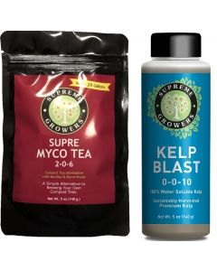 Kelp Blast/Supre Myco Tea 5oz Concentrate Bundle by Supreme Growers Compost Tea Beneficial Bacteria and Fungi Enhance Plant Growth - NEW AND IMPROVED TEA HAS DOUBLE THE MICROBES AS PREVIOUS TEA